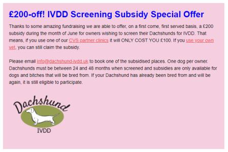 June 19 IVDD Subsidy